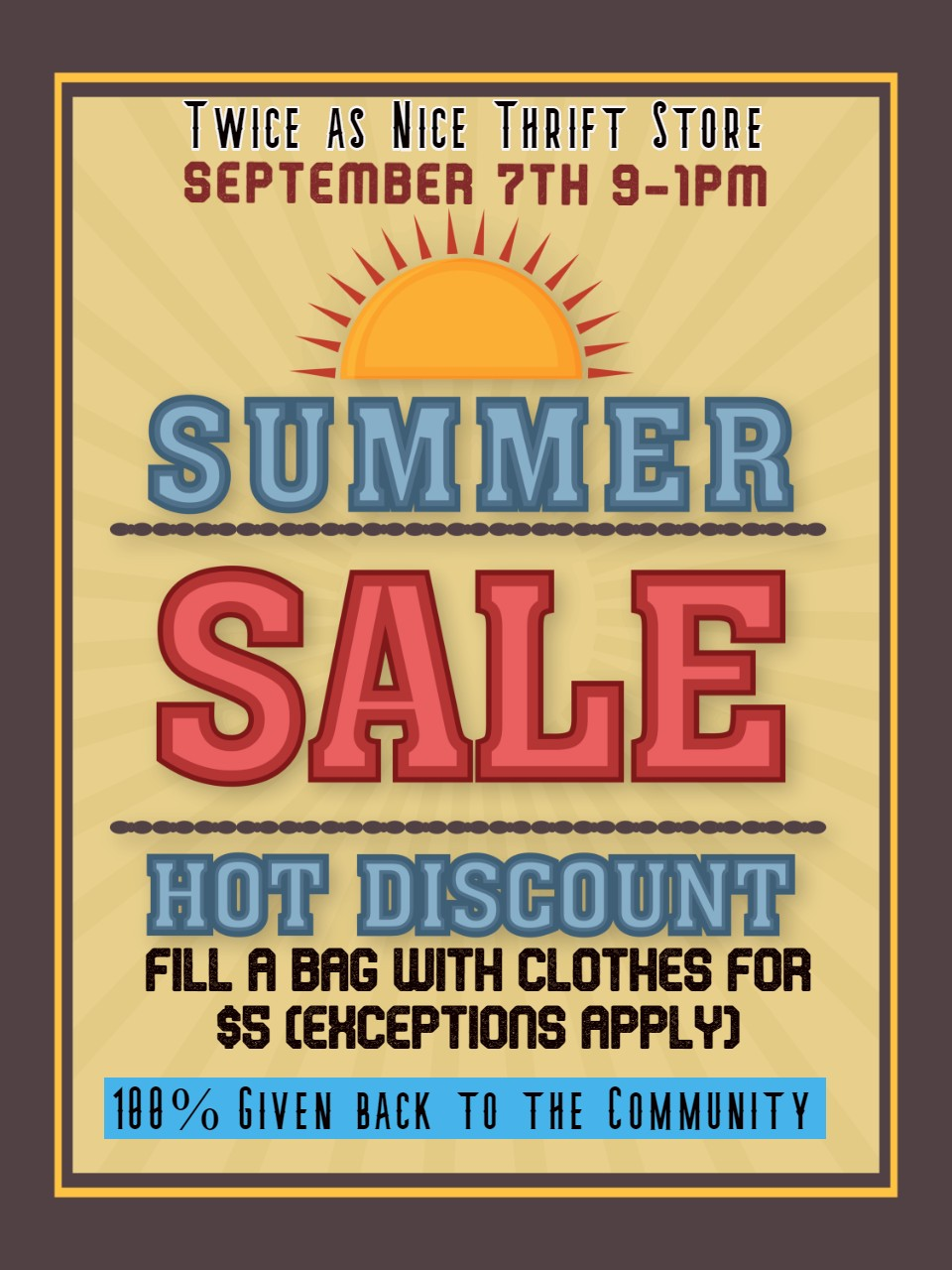 Twice as nice Thrift Store September 7, 2019 Sale a